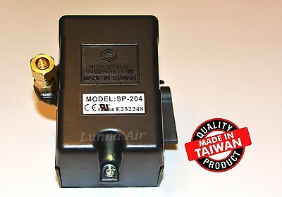Heavy Duty Pressure Switch 25 Amp 105-135 PSI 4 Port for Air Compressor