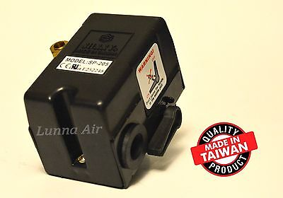 Heavy Duty Pressure Switch 25 Amp 105-135 PSI 1 Port for Air Compressor