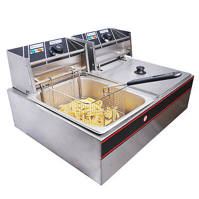 12L Dual Basket Stainless Steel Electric Deep Fryer Commercial 26423