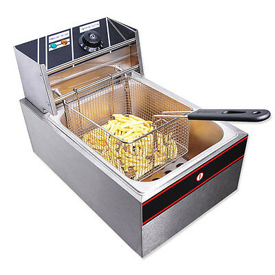 6L Stainless Steel Electric Countertop Deep Fryer Commercial 27140