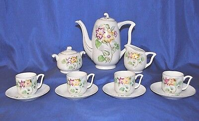 Occupied Japan China Tea Set 11 Pc. Demitasse Cups White Flowers Teapot