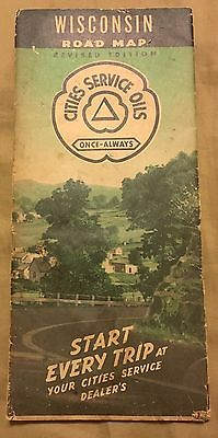 Cities Service Oils Wisconsin Road Map 1940 Vintage