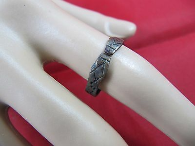 Very Rare & Unique Ancient Bronze Viking Snake Heads Ring 6th - 7th Century AD
