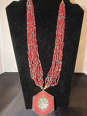 Indian Jewelry Beads Necklace With Pendant Ethnic Tribal Authentic Vintage