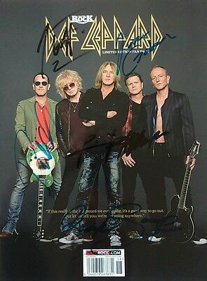Def Leppard All Members Rock Magazine Ltd. Edition Hand&print Signed Autographed
