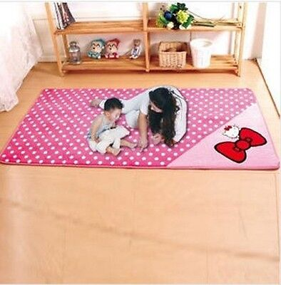 90*185cm Hello Kitty Big Bow Floor Mat Rug Plush Door Kid Room Mat Pink Hot Sale