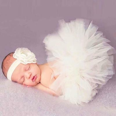 Headdress Flower+Tutu Clothes Newborn Baby Girls Skirt Photo Prop Costume Outfit