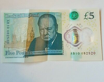 New genuine bank of england five pound note AB10 CODE