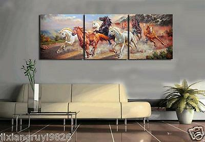 3 Panel oil painting HD Print on Canvas Art Deco Running horse (NO FRAME)