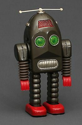 RARE Ha Ha Toys Battery Operated Thunder Robot with Propeller - Brown - Tin Toy