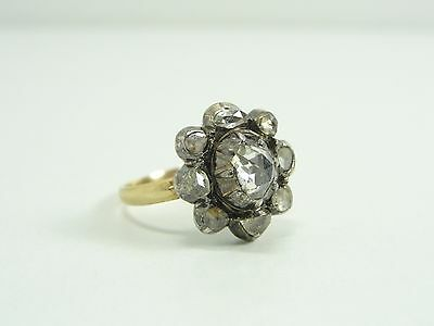 ALTER BIEDERMEIER DIAMANT RING 585/14kt. GOLD & SILBER (56) ANELLO ORO BAGUE OR