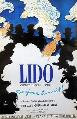 """Original French Poster """"Lido"""" on Linen"""