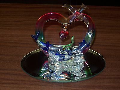Glass Dolphins And Hearts Figure Save On Shipping