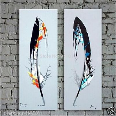 Hand abstract Wall Decor Oil Painting, Colorful feathers16*36inch(no framed)