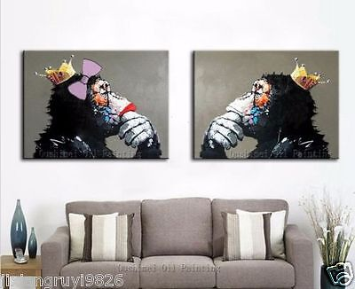Modern Hand abstract Large Wall Decor Oil Painting, Thinking Gorilla(No Framed)