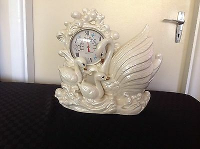 Vintage swan Japan  Retro Mother of Pearl Thermometer ceramic  Mid century