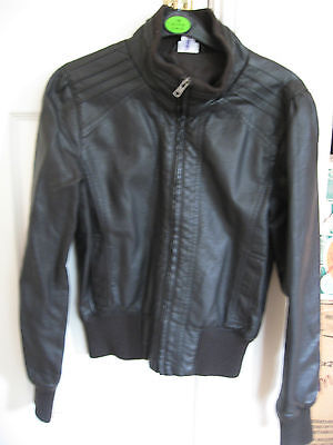 GIRL'S M&Co FAUX LEATHER CHOCOLATE BROWN JACKET COAT BOMBER AGE 13-13 + 14 YEARS