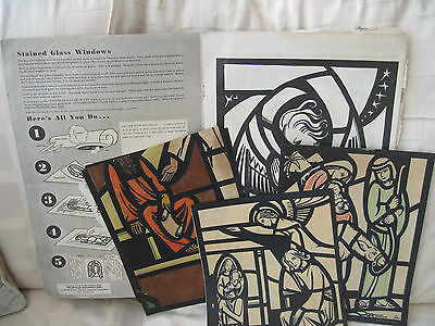 stained glass 1950s colouring panels/booklet