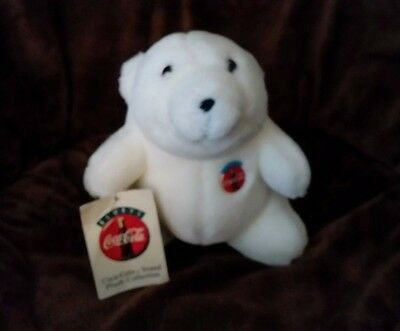 "CocaCola Stuffed  Polar Bear small 6"" tall with tags (1993)"
