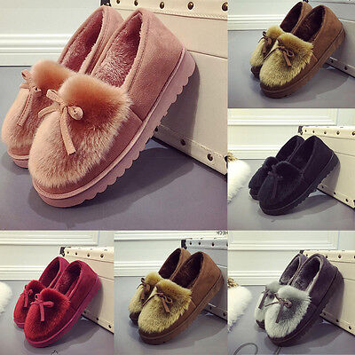 Women Rabbit Fur Casual Winter Slippers Thick Indoor/Outdoor Cotton Shoes Boots