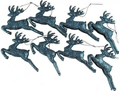 Set Of 8 ICE BLUE Glitter Reindeer Christmas Tree Hanging Ornament Decorations