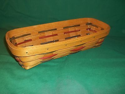 "1995 LONGABERGER 11.5"" x 5"" BASKET w/Protector Green and Red Slats"