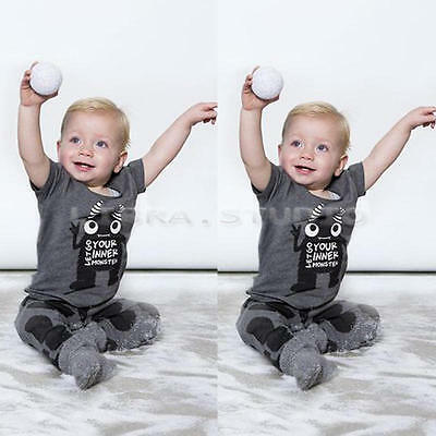 Infant Baby Outfits Sets Cotton Monster Print T-shirt Pants for 0-6 M Boys Girls