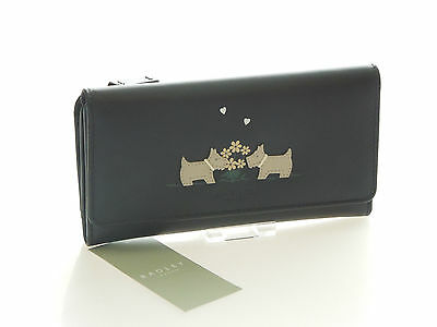 Radley Brand New Love Struck Large Trifold Purse In Black Leather RRP £75.00