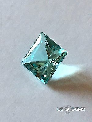 Aquamarine. Princess 7x7mm. 2 Ct. Created Gemstone Monosital. US@GEMS
