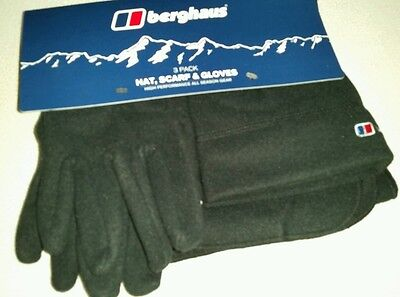 Berghaus Fleece Hat Gloves & Scarf Unisex Winter Spectrum Set Black Size S/m