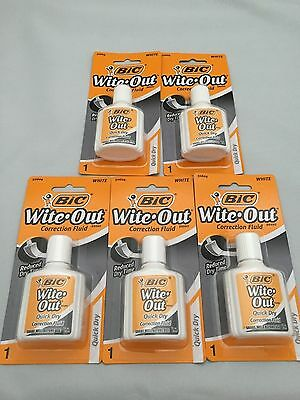(5) BIC Cover it Correction Fluid Wite Out NEW - Free Shipping!!