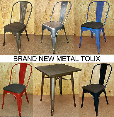 Tolix Metal Chairs Brushed Steel Blue Red Black Silver Table Retro French Bistro