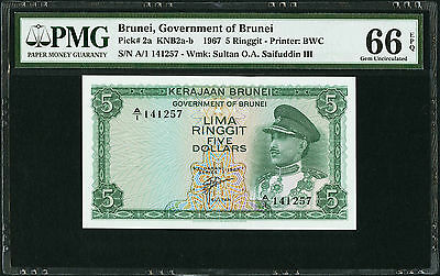 BRUNEI 1967 PICK-2a  5 RINGGIT SN A/1  PMG 66 EPQ.....STUNNINGLY BEAUTIFUL