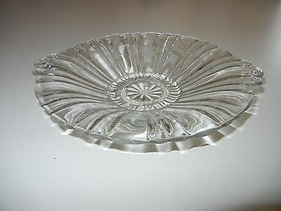 VINTAGE DEPRESSION GLASS CLEAR OLD CAFE TAB HANDLE LOW CANDY SERVING DISH Etched