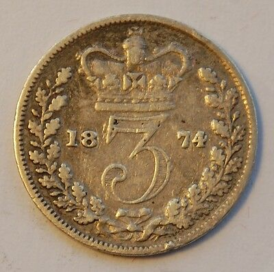 1874 Victoria Young Head Silver Threepence (Fair)