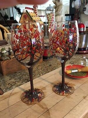 2 Hand Painted Large Fall Leaves Tree Harvest Wine Glasses Pier 1 Glass SOLD OUT