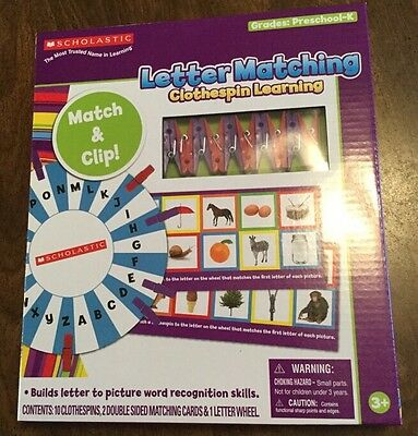 Scholastic Letter Matching Clothespin Learning ABC Sound Recognition Home School
