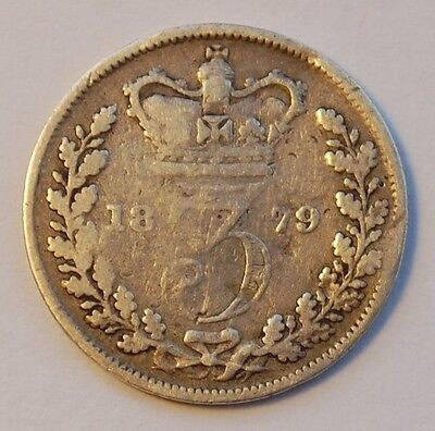 1879 Victoria Young Head Silver Threepence (Fair)