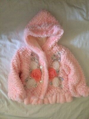 Girls  Pink Fluffy Coat / Jacket Size 4 Years Old