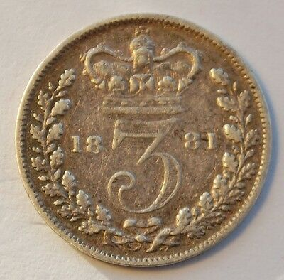 1881 Victoria Young Head Silver Threepence (aF)