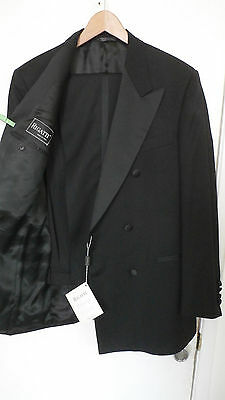 RIGATTI 6 button black double breasted light tuxedo suit 40R 34 waist ITALY NWT