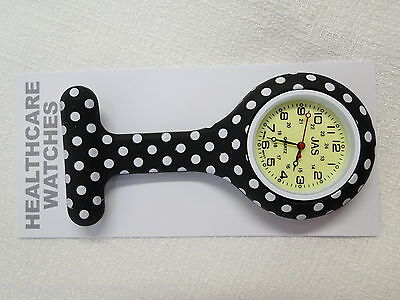New First Hand Healthcare Nurse Therapist Round Black Polka Dot Silicone Watch