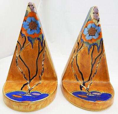 C.1930's Art Deco Pair Carlton Ware Book Ends Pattern Rosetta 3505
