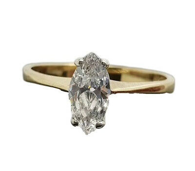 9ct Yellow Gold marquise cut created diamond  engagement ring