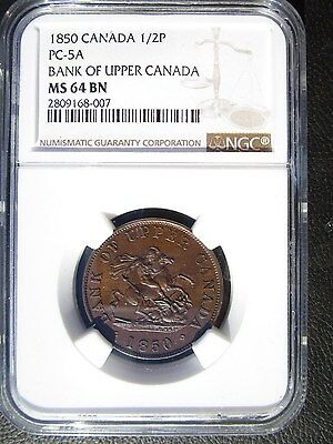1850 Bank of Upper Canada 1/2 Penny Token, NGC MS 64 BN, PC-5A