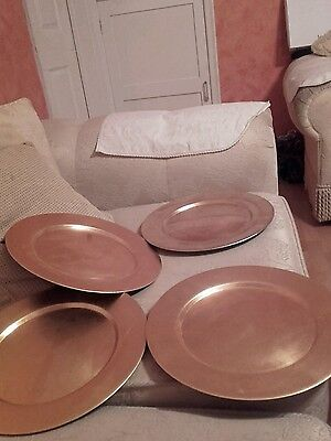 Brand New Set Of 4 Gold Charger Plates Christmas Dinner Plates BN