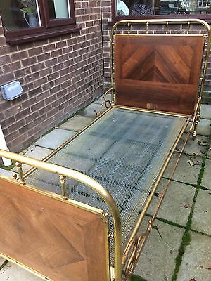 Antique Brass/Wood French single bed frame