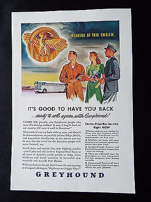 """Greyhound - Bus """" It's good to have you back""""  WWII Vintage Ad 1945"""