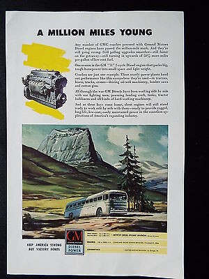 """General Motors - Bus """" A million miles young"""" & Bell Vintage Ad 1945"""