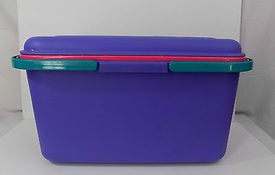 Eagle Craftstor Craft Sewing Storage Tote Container Purple with Pink Tray
